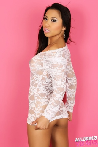 Busty Alluring Vixen Lily Shows Her Huge Tits In A Sexy White Lace Semi Sheer Dress
