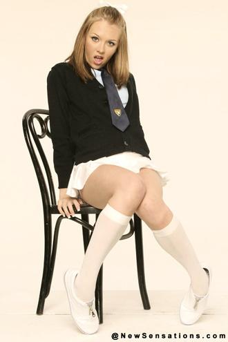Jeannie Marie Poseing In Her School Uniform