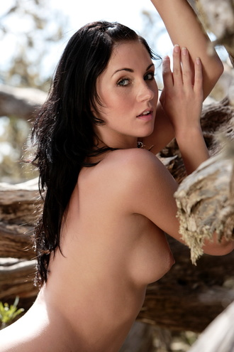 Denise Is A Nice Little Teen With Blue Eyes And Black Hair Posing Nude At The Ancient Tree