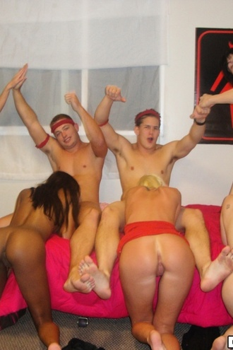 4 Hot Slim College Booty Shorts Teens Play Dodge Ball Naked Then Fuck In This All Out Group Sex Dorm Pic Set