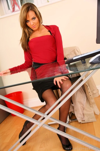 Amazing Secretary Wearing Gorgeous Red Lingerie Beneath Her Outfit.