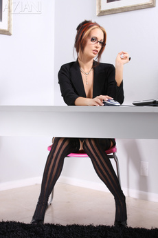 Nikki Nova Plays Sexy Secretary In Her Black Suit, Thigh High Stockings, And Heels!