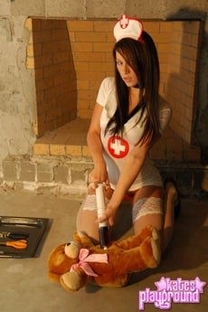 Sexy Kate Does Bad Things To A Teddy Bear As She Strips Out Of Her Nurse Outfit