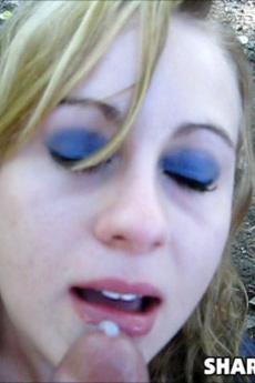 Slutty Cute Girlfriend Gives Her Boyfriend A Blowjob Outdoors Till He Cums On Her Pretty Face