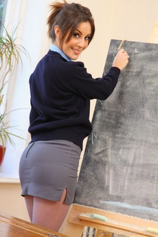 Bubbly Emily Teasing In The Classroom In Her Pantyhose
