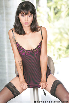 Hot Brunette In Thigh Highs Showing Pink