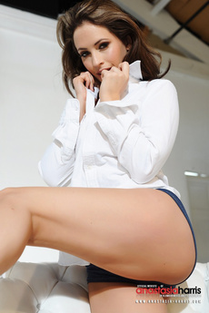 Anastasia Harris Slips Out Of Her White Shirt And Lil Denim Hotpants