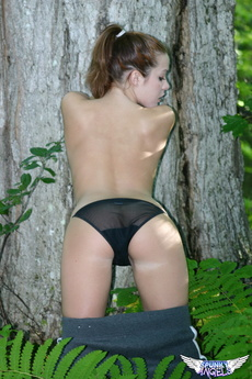 Spunky Angels Babe Serena Teases Outdoors As She Goes For A Walk In The Forest