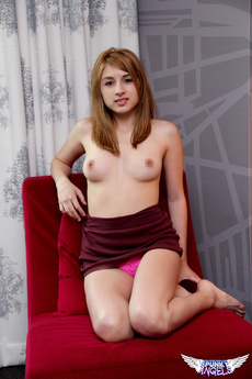Sexy Teen Zoey Violet Shows Off Her Perfect Perky Tits While Relaxing On A Lounge Chair