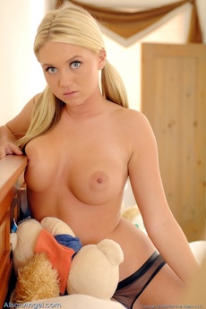 Alison Angel Plays On Her Bed