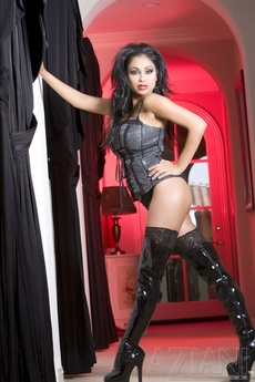 Gorgeous Busty Indian Pornstar, Priya Anjali Rai, Shows Off Her Naughty Side Posing In Her Corset, Thigh High Stockings And Thigh High Black Patent Boots!