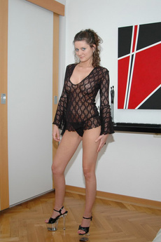 Kalee Looks Amazing In Black Lace And A Tiny Black Thong