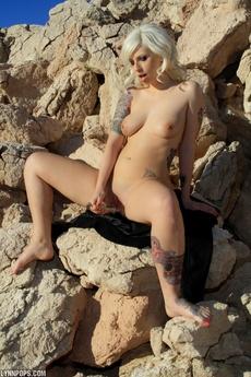 Lynn Crystal Dildo On Rocks