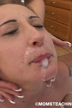 Mom Teaches Teen How To Suck Cock And Take A Huge Facial