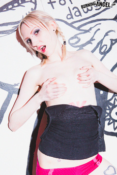 Skinny Emo Blonde Strips & Shows Off Small Tits