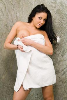 Brunette Babe In Shower