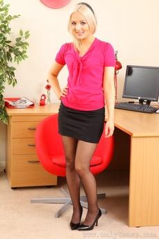Faye X As A Sexy Secretary Revealing Her Black Suspenders