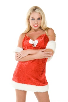 Blonde Babe In Xmas Outfit