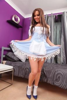 Sexy Brunette In A Fancy Light Blue Minidress