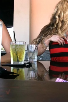 Tyler Faith's Little Tube Top Dress Provides The Perfect Access For Her To Flash Her Big Boobs, And Expose Her Ever Hard Nipples, While Out At The Bar Having Drinks!