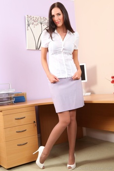 Sassy Secretary In A Tight White Blouse And Lilac Pencil Skirt.