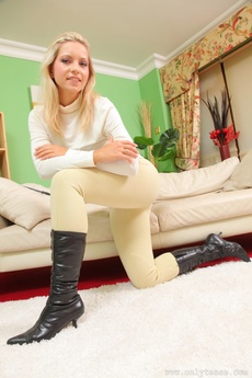 Kinky Equestrian Strips Out Of Her Riding Gear And Teases In Her Sheer Panties And Black Pantyhose.