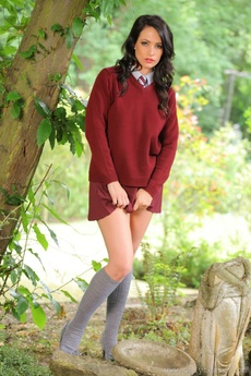 Dark Haired College Girl Loves The Outdoors And The Passers By Love The View Of Her Slipping Out Of Her Uniform