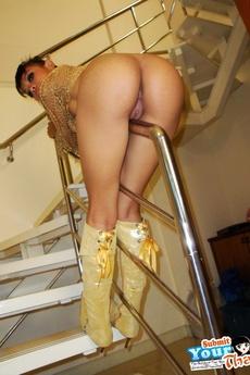 Slender Thai Girlfriend Posing And Flashing On Stairs