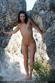 Great Looking Teen Nikita Show Her Shaved Pussy And Small Tits At The Rock Gate