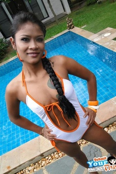 Sexy Thai Babe Jenny Is By The Pool And Strips Her Bathing Suit Off