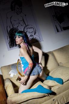 Stoner Tattooed Whore Strips On Her Sofa