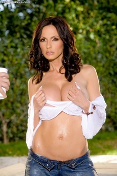 Catalina Cruz Outside Getting Her Blouse And Big Boobs All Wet