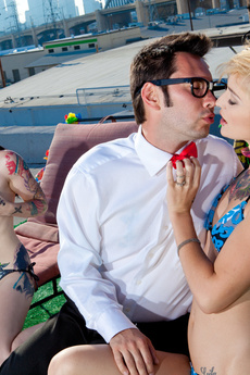 Two Tattooed Sluts In Threesome On Rooftop