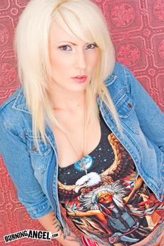 Blonde Tattooed Slut Wren Strips And Spreads
