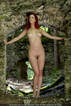 Sexy Redhead Ariel Posing For Our Fine Nude Art By The Ancient Wall And Show All Her Attributes picture 7