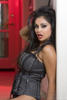 Gorgeous Busty Indian Pornstar, Priya Anjali Rai, Shows Off Her Naughty Side Posing In Her Corset, Thigh High Stockings And Thigh High Black Patent Boots! picture 7