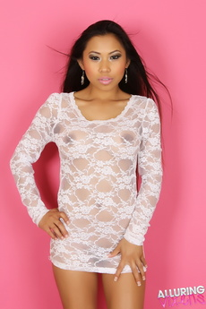 Busty Alluring Vixen Lily Shows Her Huge Tits In A Sexy White Lace Semi Sheer Dress picture 2
