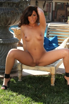 Brunette Babe Tiffany Brookes Strips Off Her Bikini By The Pool. picture 10
