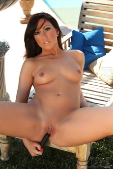 Brunette Babe Tiffany Brookes Strips Off Her Bikini By The Pool. picture 14