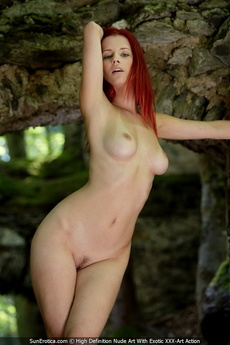 Sexy Redhead Ariel Posing For Our Fine Nude Art By The Ancient Wall And Show All Her Attributes picture 3