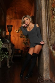 Sexy Blonde, Aubrey Addams, Is Smoking Hot In Her Black Lingerie And Thigh High Boots.  She Strips Down Revealing Her Perky Boobs, Pierced Clit And Smooth Pussy. picture 1