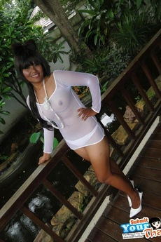 Hot Emo Thai Girlfriend In White Sheer Shirt Poses And Strips picture 1