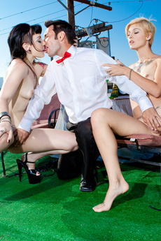 Two Tattooed Sluts In Threesome On Rooftop picture 10