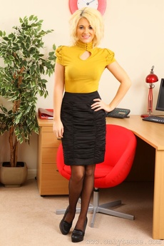 Blonde Emma In Yellow Office Wear And Black Suspenders picture 1