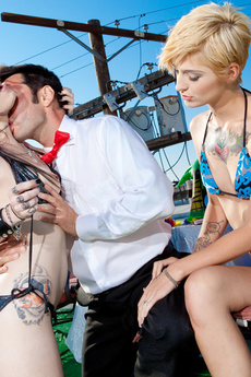 Two Tattooed Sluts In Threesome On Rooftop picture 9