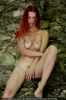 Sexy Redhead Ariel Posing For Our Fine Nude Art By The Ancient Wall And Show All Her Attributes picture 16