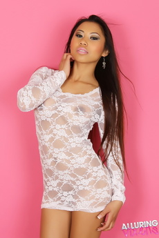 Busty Alluring Vixen Lily Shows Her Huge Tits In A Sexy White Lace Semi Sheer Dress picture 3