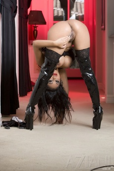 Gorgeous Busty Indian Pornstar, Priya Anjali Rai, Shows Off Her Naughty Side Posing In Her Corset, Thigh High Stockings And Thigh High Black Patent Boots! picture 12
