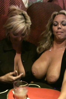 Amber Lynn Bach And Rachel Aziani Have Fun Flashing For The Camera At The Bar! picture 10