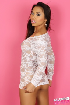 Busty Alluring Vixen Lily Shows Her Huge Tits In A Sexy White Lace Semi Sheer Dress picture 4